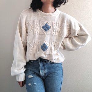 Vintage Diamond Cable Knit Sweater - Crm/Blue